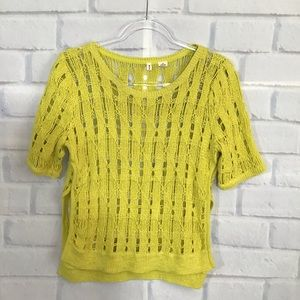 Anthro Moth Yellow Open Knit Sweater
